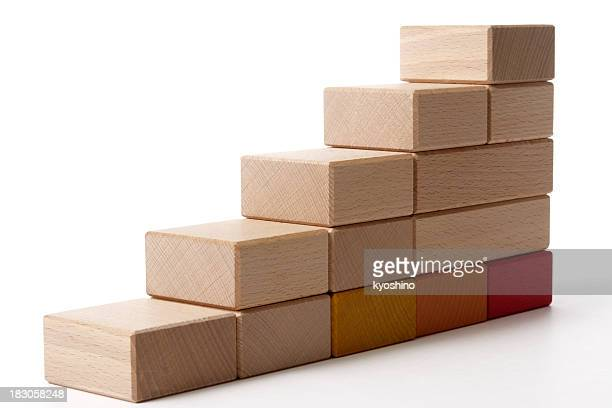 Isolated shot of wood block stairs on white background