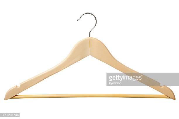 Isolated shot of wooden coat hanger on white background