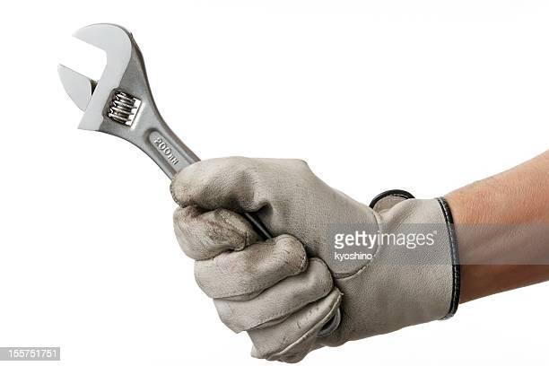 Isolierte Schuss von arbeiten hand mit Schlüssel vor weißem Hintergrund