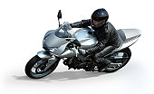 Woman rading on very fast motorcycle