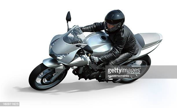 Isolated silver motorcycle