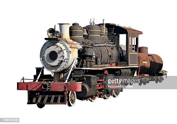 Motor locomotora de vapor, aislado con trazado de recorte