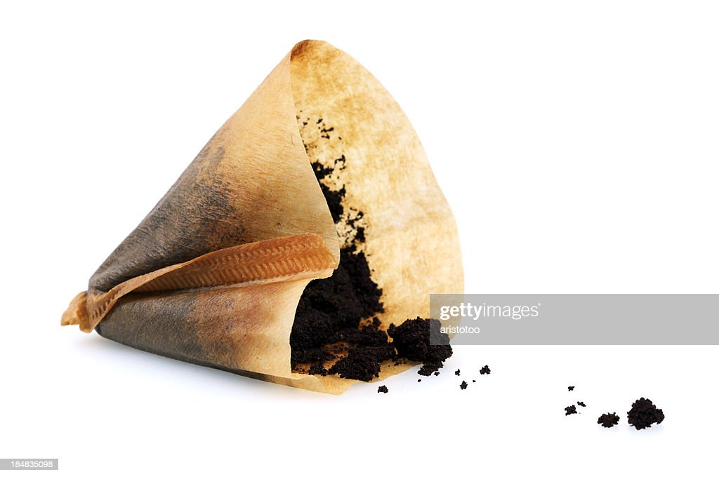 Isolated Used Coffee Filter : Stock Photo