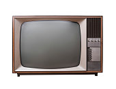 Vintage sixties television set isolated on white