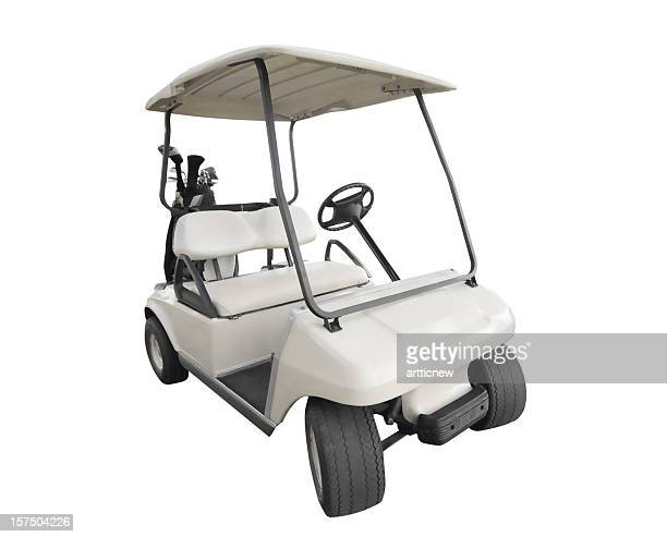 isolated white golf car with club bag