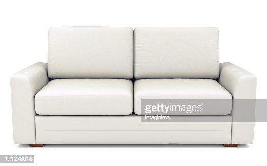 Isolated White Leather Sofa