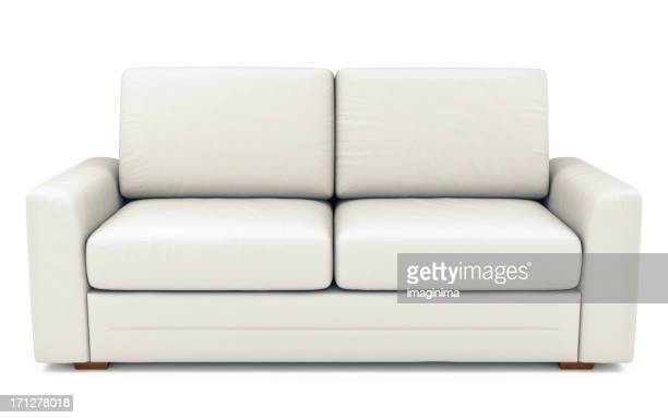 Isolated White Leather Sofa