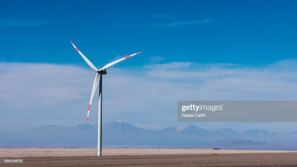 Isolated wind turbine in the desert