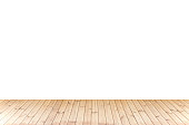 Isolated Wood floor,wood texture in light brown color on white background for copy space