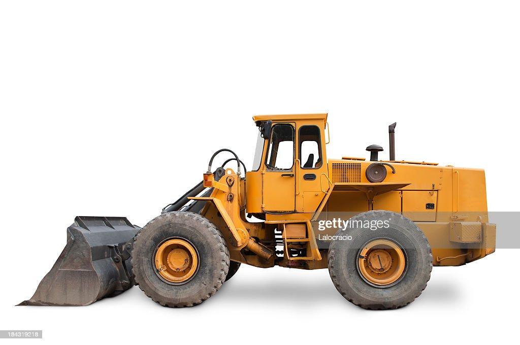Isolated yellow excavator on white background