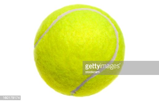 Isolated yellow tennis ball on white
