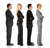 Isolated young businesspeople waiting in line