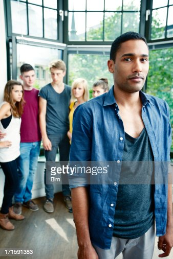 Isolation Concept, Young Black Man Rejected by a Group