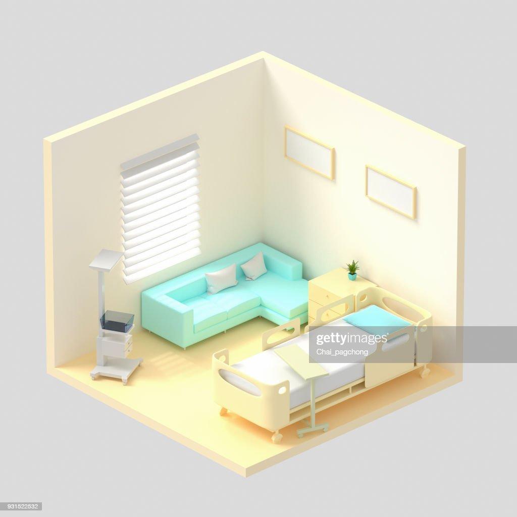 Isométrique Hôpital Rendu 3d De La Salle. Lit De Patient De Luxe,  équipements Hospitaliers, Un Canapé Confortable Dans La Chambre. Hôpital  Moderne ...