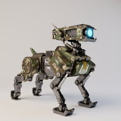 Isometric Robot dog on white background . 3d rendering