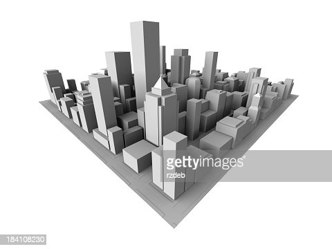 Isometric view of gray 3D city