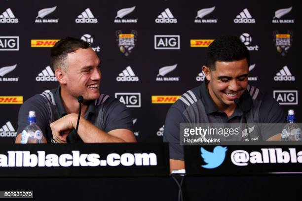 Israel Dagg and Anton LienertBrown enjoy a laugh during a New Zealand All Blacks press conference on June 29 2017 in Wellington New Zealand