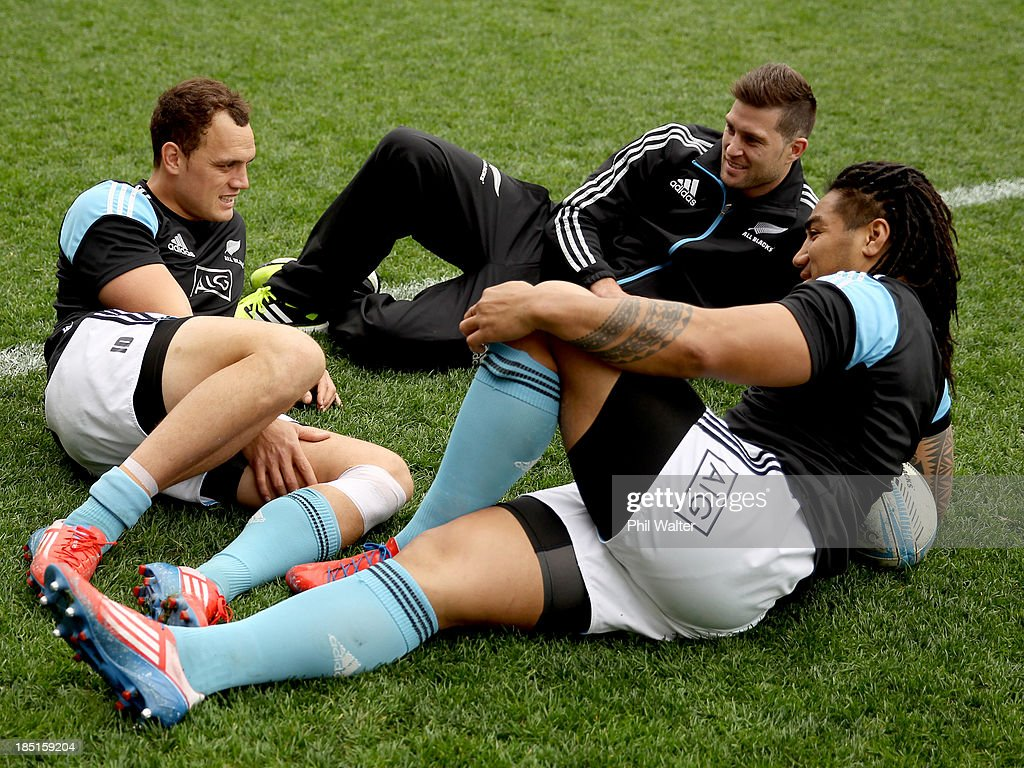 Israel Dagg Cory Jane and Ma'a Nonu relax on the field during the New Zealand All Blacks captain's run at Forsyth Barr Stadium on October 18 2013 in...