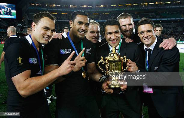 Israel Dagg Jerome Kaino Mils Muliaina and Dan Carter of the All Blacks pose with the Webb Ellis Cup after the 2011 IRB Rugby World Cup Final match...