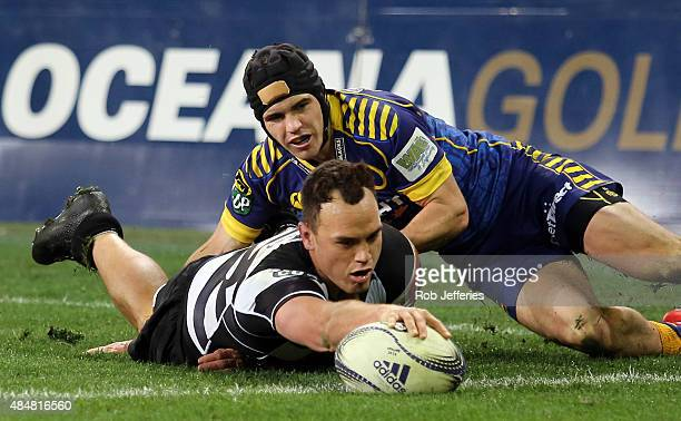 Israel Dagg of Hawke's Bay scores a try during the round two ITM Cup match between Otago and Hawkes Bay at Forsyth Barr Stadium on August 22 2015 in...
