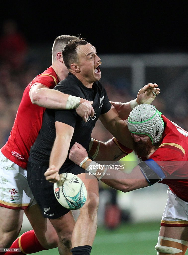<a gi-track='captionPersonalityLinkClicked' href=/galleries/search?phrase=Israel+Dagg&family=editorial&specificpeople=2086281 ng-click='$event.stopPropagation()'>Israel Dagg</a> of New Zealand looks to off-load the ball during the International Test match between the New Zealand All Blacks and Wales at Forsyth Barr Stadium on June 25, 2016 in Dunedin, New Zealand.