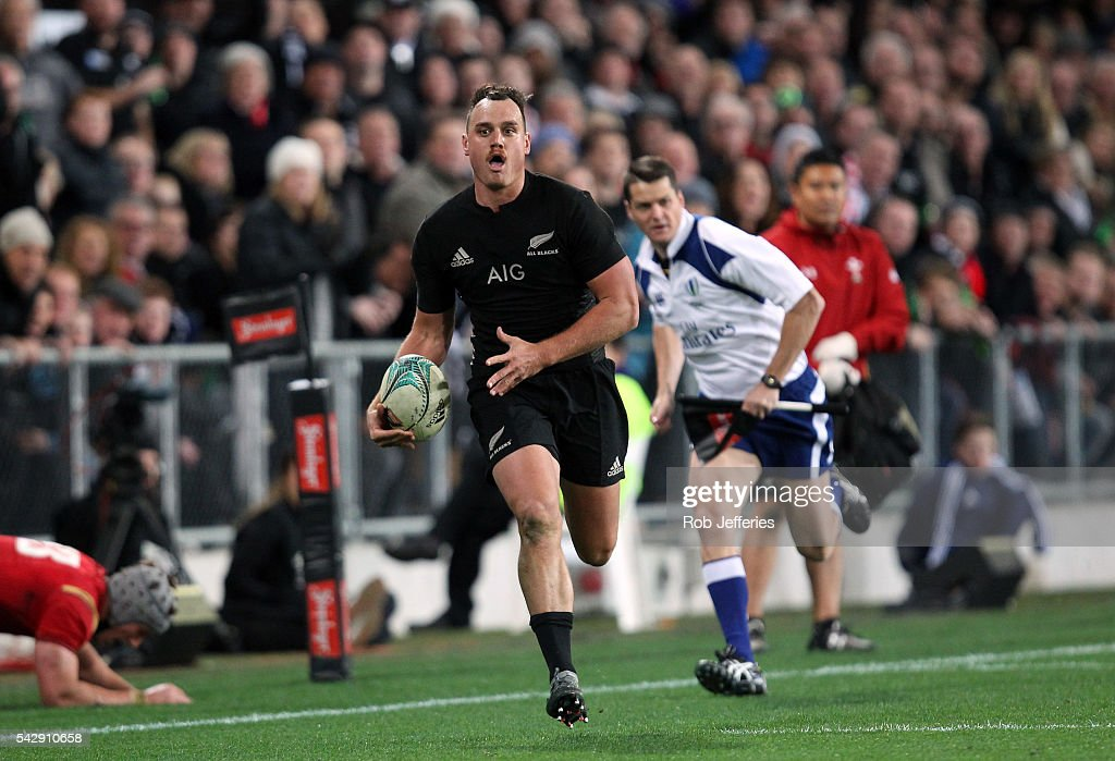 Israel Dagg of New Zealand on the attack during the International Test match between the New Zealand All Blacks and Wales at Forsyth Barr Stadium on June 25, 2016 in Dunedin, New Zealand.