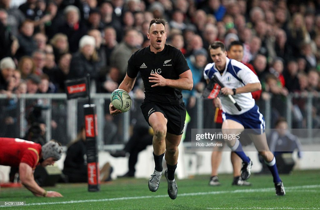 <a gi-track='captionPersonalityLinkClicked' href=/galleries/search?phrase=Israel+Dagg&family=editorial&specificpeople=2086281 ng-click='$event.stopPropagation()'>Israel Dagg</a> of New Zealand on the attack during the International Test match between the New Zealand All Blacks and Wales at Forsyth Barr Stadium on June 25, 2016 in Dunedin, New Zealand.
