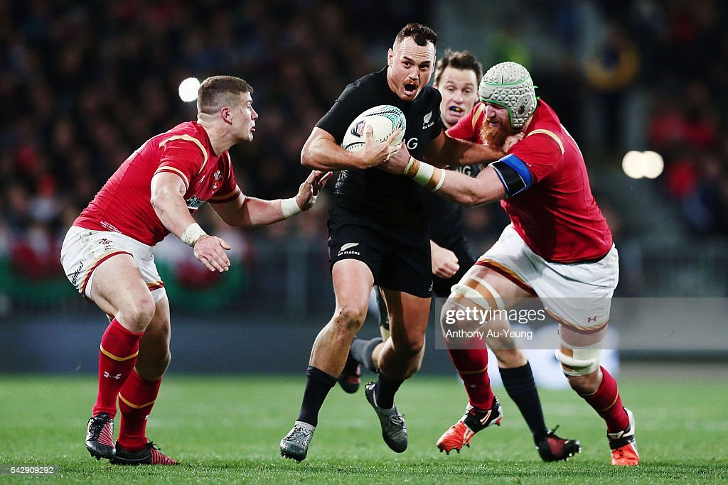<a gi-track='captionPersonalityLinkClicked' href=/galleries/search?phrase=Israel+Dagg&family=editorial&specificpeople=2086281 ng-click='$event.stopPropagation()'>Israel Dagg</a> of New Zealand on the charge against Jake Ball and <a gi-track='captionPersonalityLinkClicked' href=/galleries/search?phrase=Scott+Williams+-+Rugby+Player&family=editorial&specificpeople=12536775 ng-click='$event.stopPropagation()'>Scott Williams</a> of Wales during the International Test match between the New Zealand All Blacks and Wales at Forsyth Barr Stadium on June 25, 2016 in Dunedin, New Zealand.