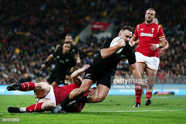 Israel Dagg of New Zealand scores a try during the International Test match between the New Zealand All Blacks and Wales at Westpac Stadium on June...