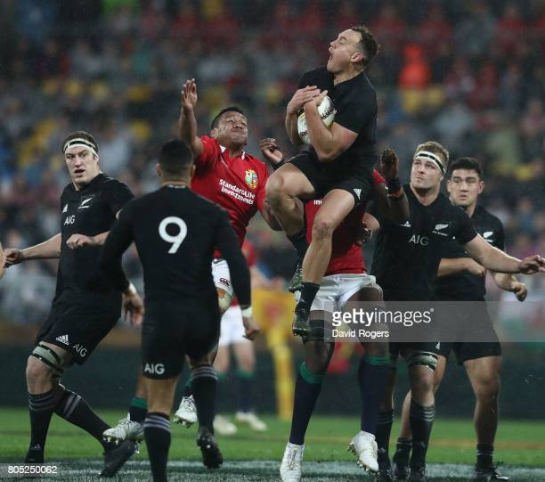 Israel Dagg of the All Blacks catches the ball during the match between the New Zealand All Blacks and the British Irish Lions at Westpac Stadium on...