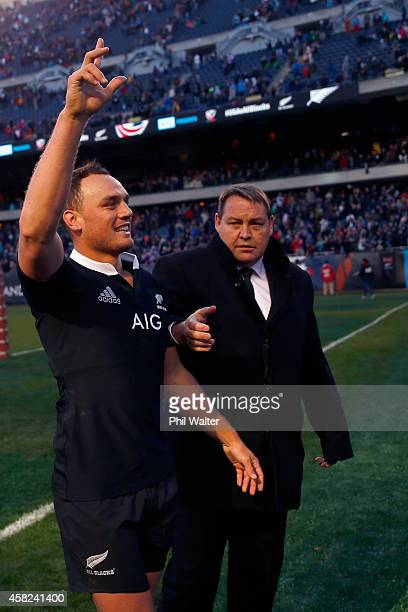 Israel Dagg of the All Blacks is congratulated by coach Steve Hansen following the International Test Match between the United States of America and...
