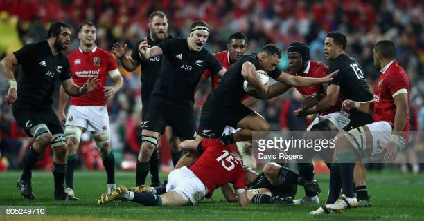 Israel Dagg of the All Blacks is held by Liam Williams during the match between the New Zealand All Blacks and the British Irish Lions at Westpac...