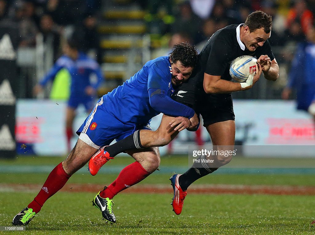 <a gi-track='captionPersonalityLinkClicked' href=/galleries/search?phrase=Israel+Dagg&family=editorial&specificpeople=2086281 ng-click='$event.stopPropagation()'>Israel Dagg</a> of the All Blacks is tackled by <a gi-track='captionPersonalityLinkClicked' href=/galleries/search?phrase=Florian+Fritz&family=editorial&specificpeople=540919 ng-click='$event.stopPropagation()'>Florian Fritz</a> of France during the International Test match between the New Zealand All Blacks and France at AMI Stadium on June 15, 2013 in Christchurch, New Zealand.