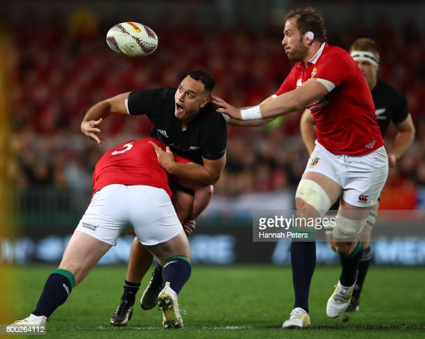 Israel Dagg of the All Blacks loses the ball as he is tackled by Tadhg Furlong of the Lions during the first test match between the New Zealand All...