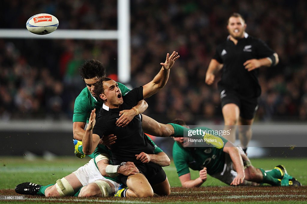 <a gi-track='captionPersonalityLinkClicked' href=/galleries/search?phrase=Israel+Dagg&family=editorial&specificpeople=2086281 ng-click='$event.stopPropagation()'>Israel Dagg</a> of the All Blacks loses the ball during the International Test Match between the New Zealand All Blacks and Ireland at Eden Park on June 9, 2012 in Auckland, New Zealand.