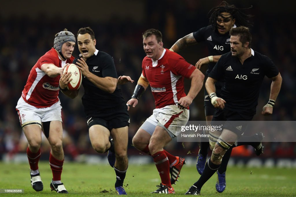 Israel Dagg of the All Blacks makes a break during the international match between Wales and New Zealand at Millennium Stadium on November 24, 2012 in Cardiff, Wales.