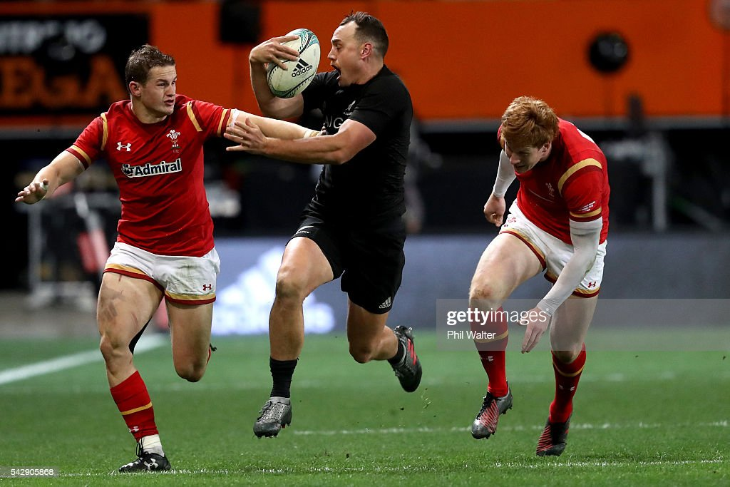 <a gi-track='captionPersonalityLinkClicked' href=/galleries/search?phrase=Israel+Dagg&family=editorial&specificpeople=2086281 ng-click='$event.stopPropagation()'>Israel Dagg</a> of the All Blacks makes a break during the International Test match between the New Zealand All Blacks and Wales at Forsyth Barr Stadium on June 25, 2016 in Dunedin, New Zealand.