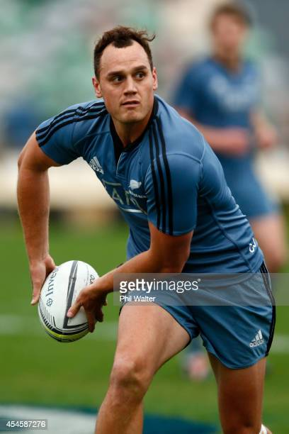 Israel Dagg of the All Blacks passes during a New Zealand All Blacks training session at McLean Park on September 4 2014 in Napier New Zealand