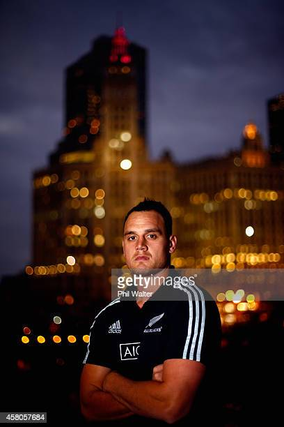 Israel Dagg of the All Blacks poses for a portrait following a New Zealand All Blacks media session at the Hyatt Regency on October 29 2014 in...