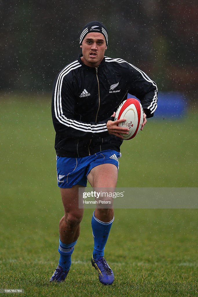 <a gi-track='captionPersonalityLinkClicked' href=/galleries/search?phrase=Israel+Dagg&family=editorial&specificpeople=2086281 ng-click='$event.stopPropagation()'>Israel Dagg</a> of the All Blacks runs through drills during a training session at the University of Glamorgan training fields on November 20, 2012 in Cardiff, Wales.