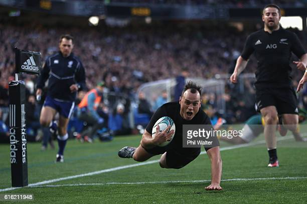Israel Dagg of the All Blacks scores the opening try during the Bledisloe Cup Rugby Championship match between the New Zealand All Blacks and the...