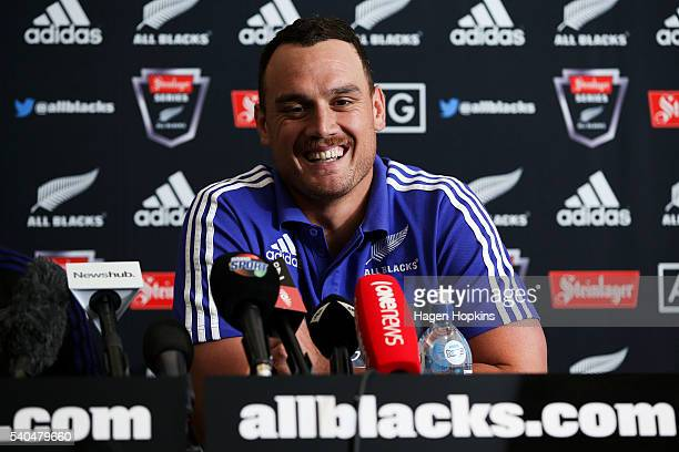 Israel Dagg of the All Blacks speaks to media during a New Zealand All Blacks press conference at InterContinental Hotel on June 16 2016 in...