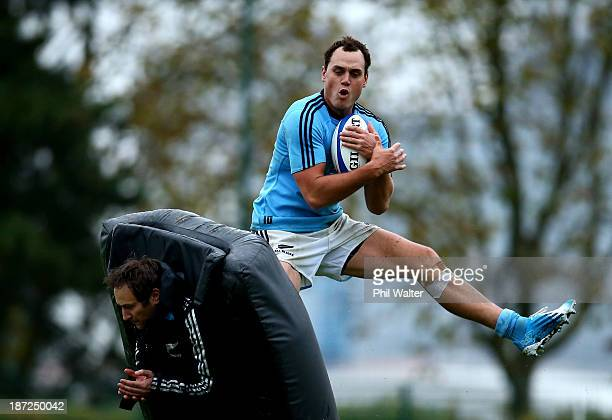 Israel Dagg of the All Blacks takes a catch during a New Zealand All Blacks training session at the Rugby Club Suresnois on November 7 2013 in Paris...