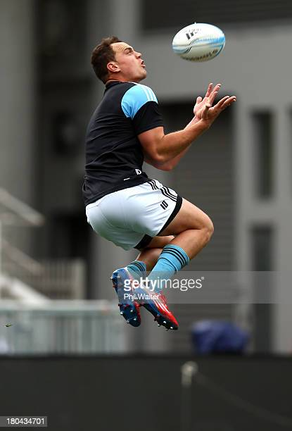 Israel Dagg of the All Blacks takes a catch during the New Zealand All Blacks captain's run at Eden Park on September 13 2013 in Auckland New Zealand