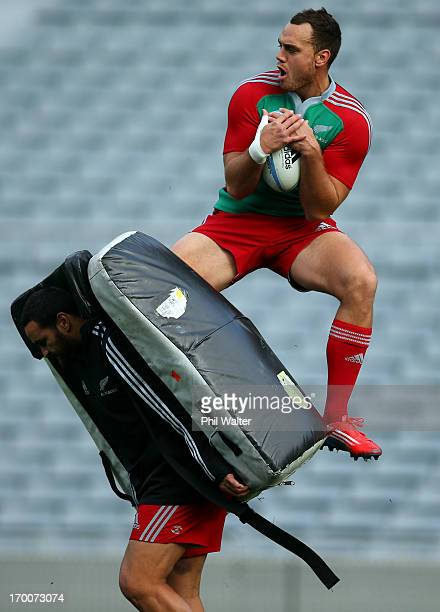 Israel Dagg of the All Blacks takes a catch over the top of Piri Weepu during the New Zealand All Blacks Captain's Run at Eden Park on June 7 2013 in...