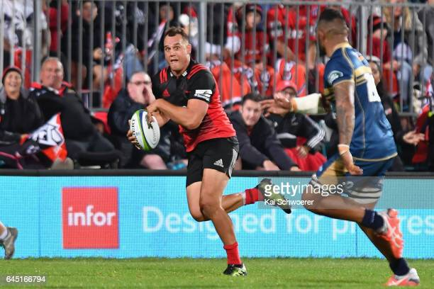 Israel Dagg of the Crusaders charges forward during the round one Super Rugby match between the Crusaders and the Brumbies at AMI Stadium on February...