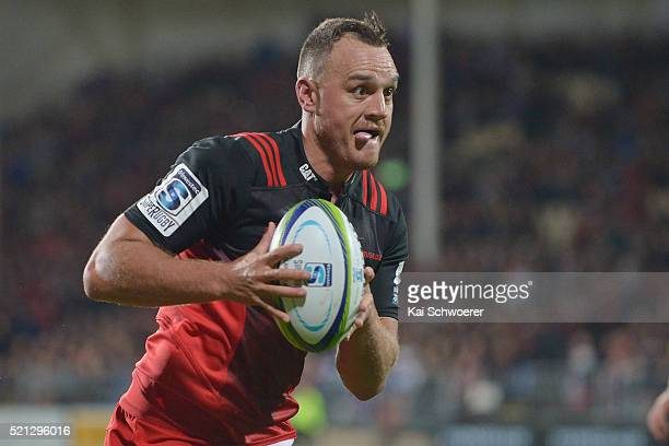 Israel Dagg of the Crusaders runs through to score a try during the round eight Super Rugby match between the Crusaders and the Jaguares at AMI...