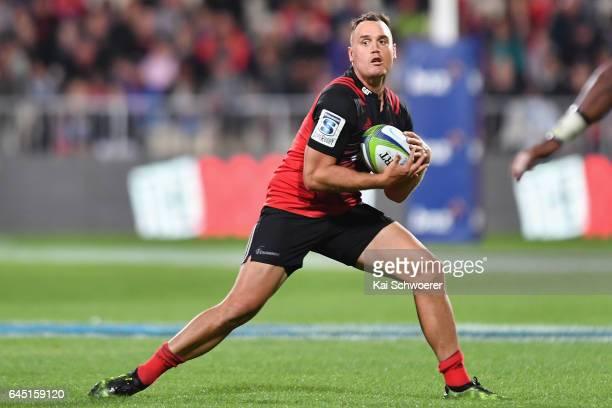 Israel Dagg of the Crusaders runs with the ball during the round one Super Rugby match between the Crusaders and the Brumbies at AMI Stadium on...