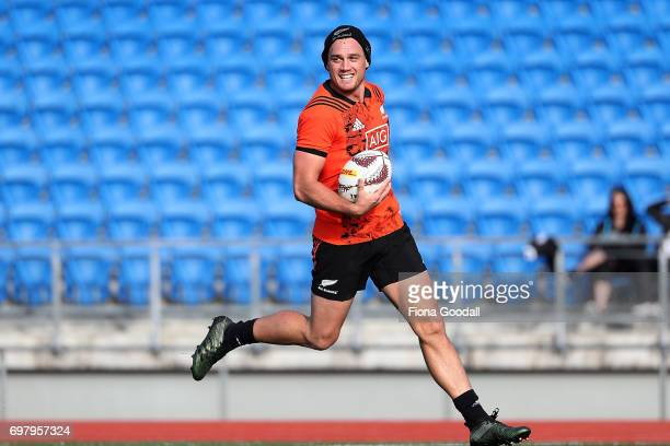 Israel Dagg runs in for a try during a New Zealand All Blacks training session at Trusts Stadium on June 20 2017 in Auckland New Zealand