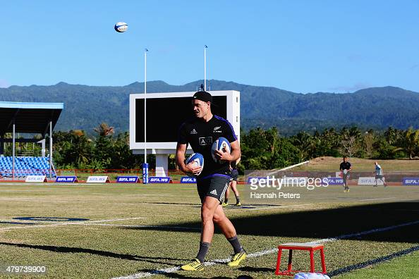 Israel Dagg runs through drills during a New Zealand All Blacks Captain's Run at Apia Park on July 7 2015 in Apia Samoa